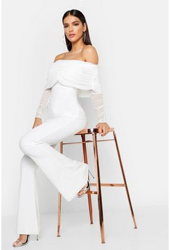 White Mesh Bardot Ruched Jumpsuit