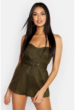 Womens Khaki Belted Bandeau Playsuit