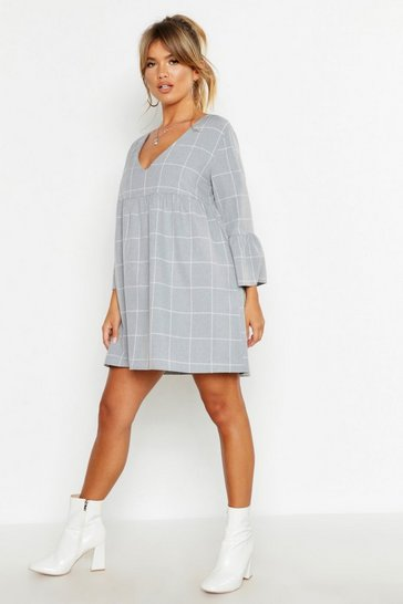 Womens Grey Checked Smock Playsuit Dress