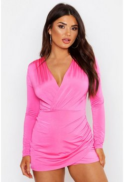Womens Pink Disco Slinky Wrap Plunge Skort Playsuit