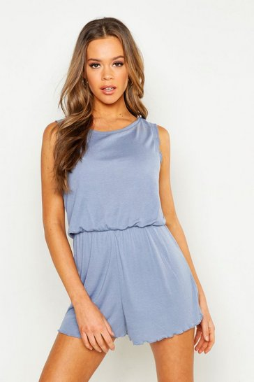 Womens Dusty blue Lettuce Hem Sleeveless Playsuit