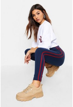 Womens Navy Super Soft Side Stripe Leggings