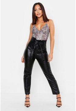 Black Leather Look Paperbag High Waist Trousers