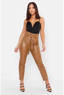 Leather Look Paperbag High Waist Trousers, Chocolate, Donna