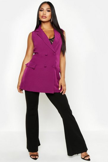 Womens Plum Woven Sleeveless Double Breasted Jacket