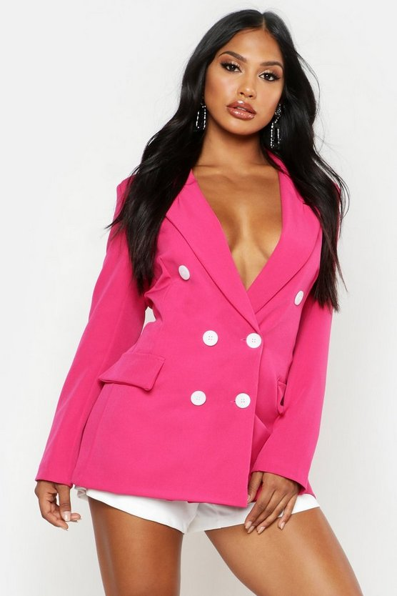 Pink Woven Double Breasted Longline Blazer