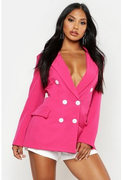 Womens Pink Woven Double Breasted Longline Blazer
