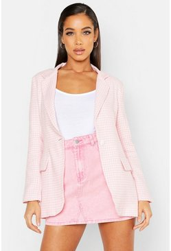 Womens Pink Woven Dogtooth Button Blazer