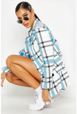 Womens Blue Grid Check Belted Blazer