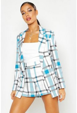 Womens Blue Grid Check Pleated Short