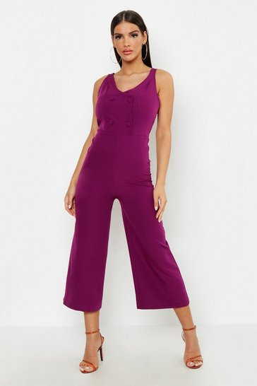 Womens Plum Woven Covered Button Jumpsuit