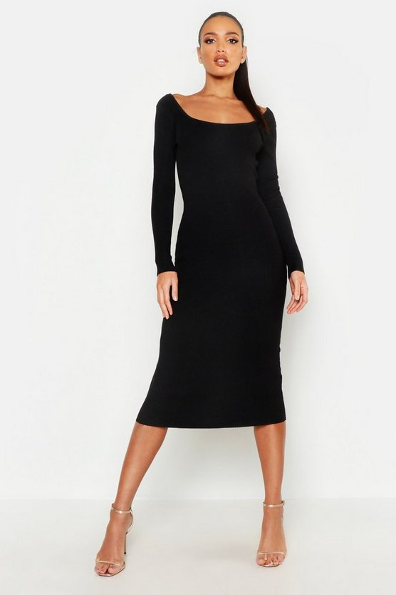 Scoop Front & Black Knitted Midi Dress