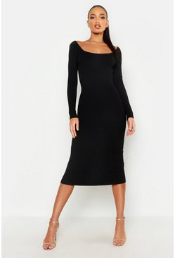 Womens Scoop Front & Black Knitted Midi Dress