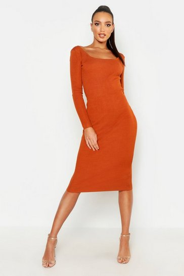 Womens Camel Scoop Front & Black Knitted Midi Dress