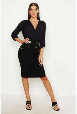Womens Black Woven Mix Button Detail Wrap Dress