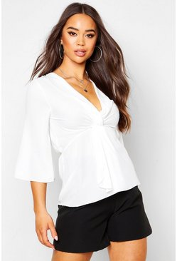 Womens White Woven Knot Front Wrap Wide Sleeve Blouse