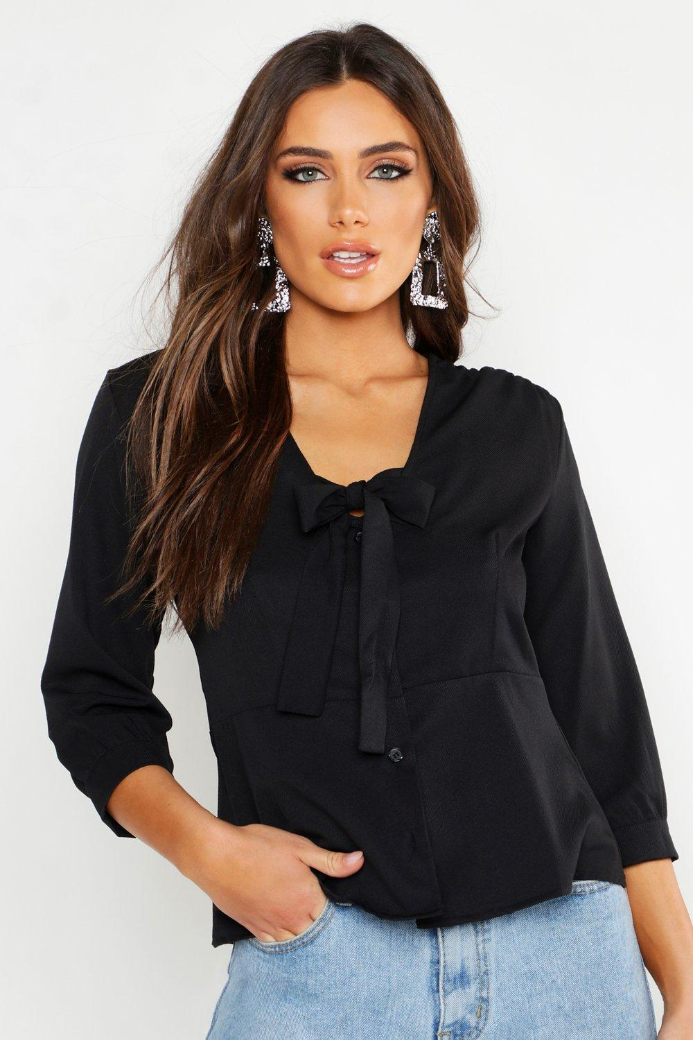 Woven Tie Front Blouse