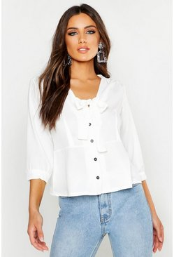 White Woven Tie Front Blouse