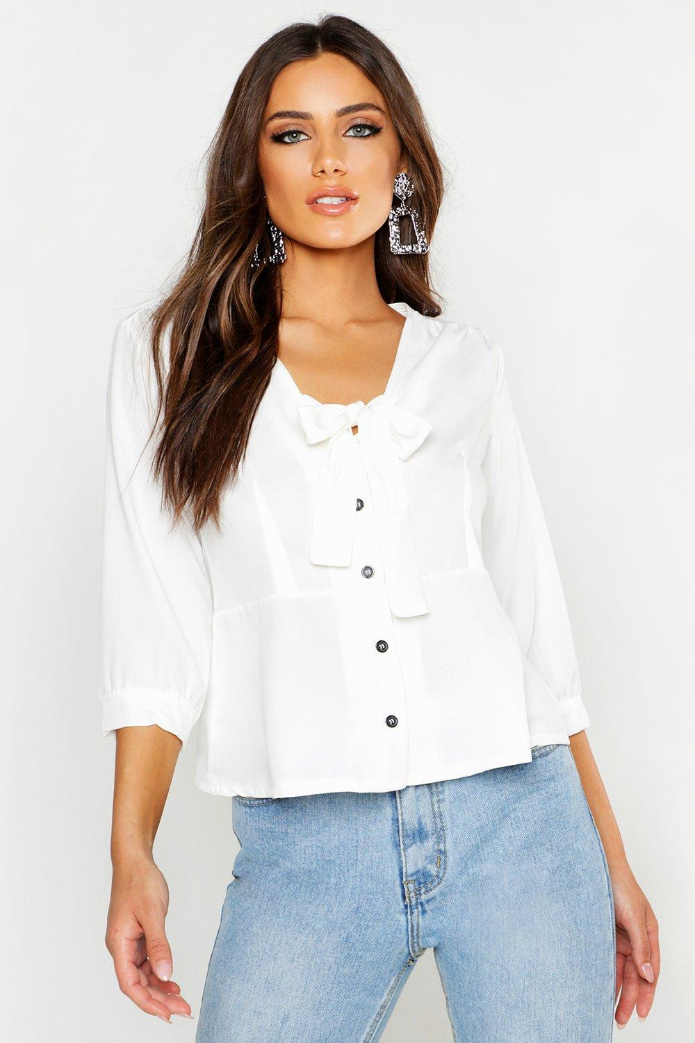 749211d864e96 Woven Tie Front Blouse. Hover to zoom