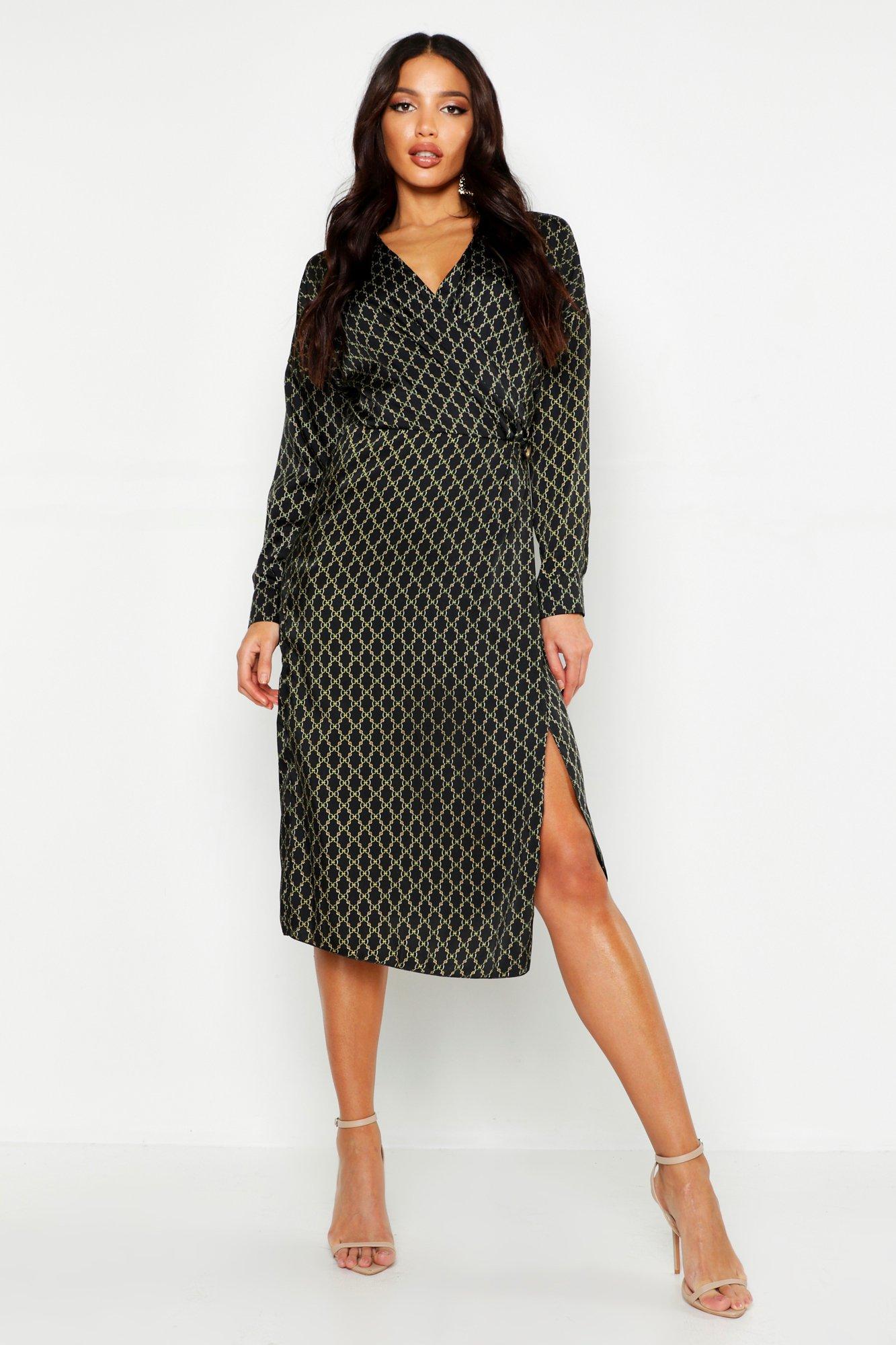 Satin Chain Wrap Midi Dress