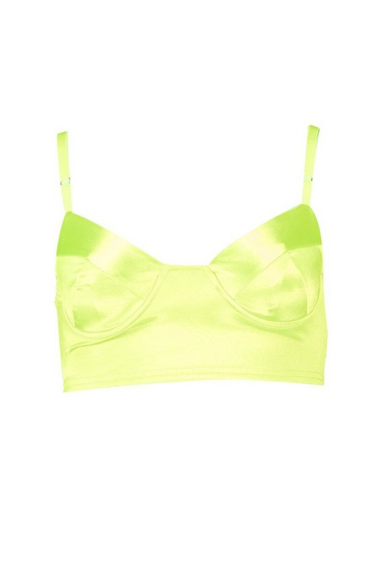 Womens Neon-lime Underwired Satin Bralette