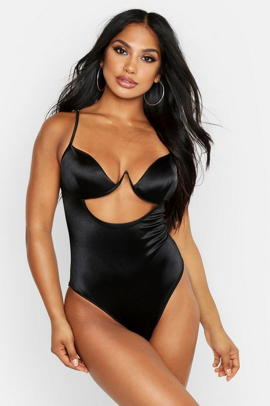 Black Satin Cut Out Detail Body