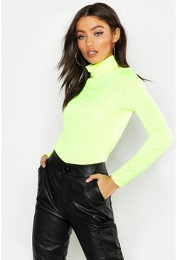 Womens Neon-lime Neon Slinky Roll Neck Top