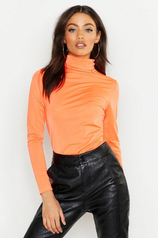 Womens Neon-orange Neon Slinky Roll Neck Top