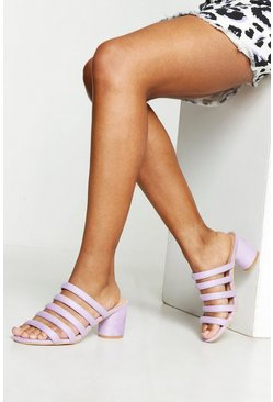 Womens Lilac Wide Fit Tubular Block Heel Mules
