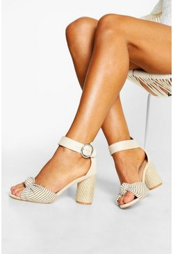 Womens Cream Extra Wide Fit Espadrille Heel Sandals