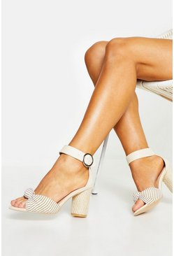 Womens Cream Wide Fit Espadrille Heel Sandals
