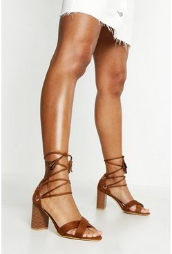 Womens Tan Extra Wide Fit Lace Up Block Heels