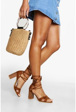 Tan Wide Fit Lace Up Block Heels