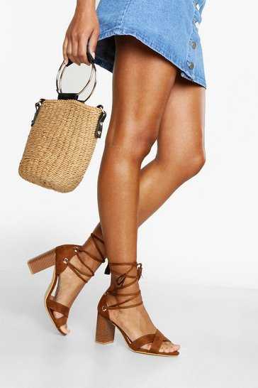 Womens Tan Wide Fit Lace Up Block Heels