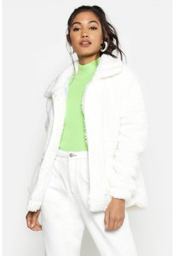 Womens Cream Collared Teddy Faux Fur Jacket