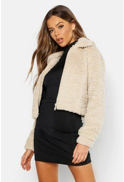 Womens Stone Cropped Teddy Faux Fur Jacket