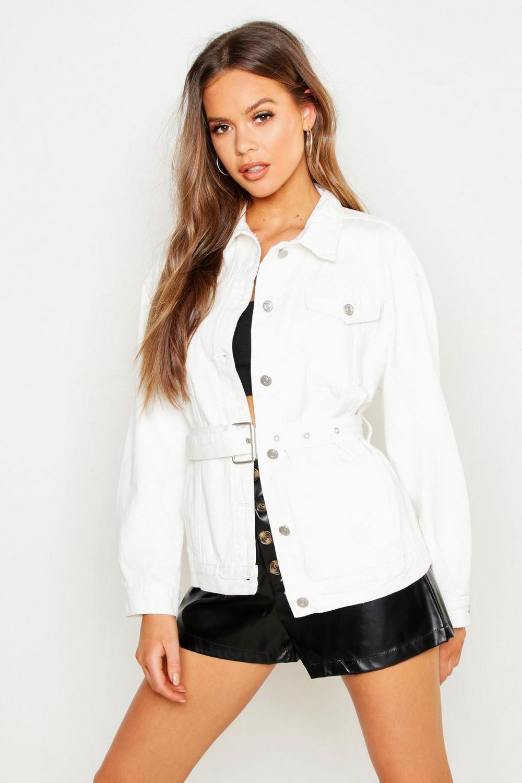 authorized site top design size 7 Veste en jean avec ceinture | Boohoo
