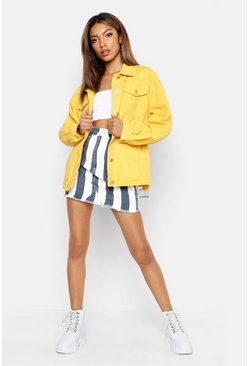 Belted Denim Jacket, Yellow, Donna