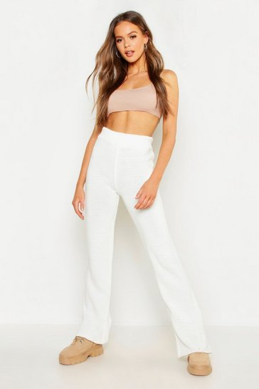 Womens White Knitted Trouser