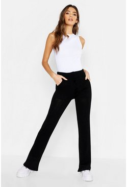 Womens Black Pocket Front Knitted Trouser