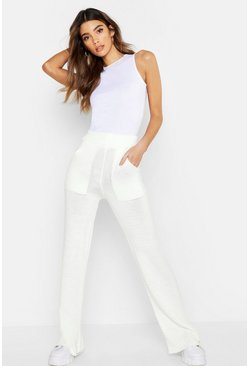 Womens White Pocket Front Knitted Trouser