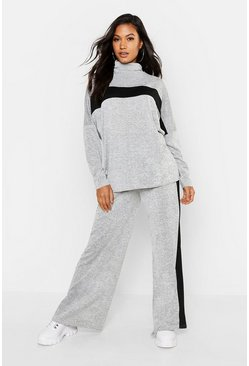 Womens Grey Knitted Sports Athleisure Roll Neck Lounge Set