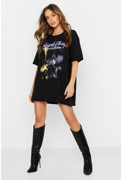 Prince Purple Rain License T-Shirt Dress, Black, Donna