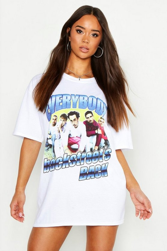 Womens White Backstreet Boys Licensed T-Shirt Dress