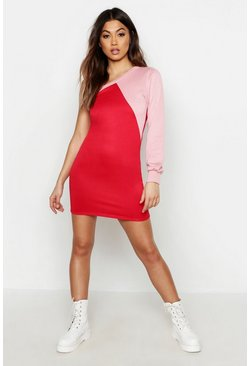 Womens Red Colour Block One Shoulder Sweatshirt Dress