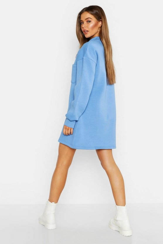 High Neck Pocket Detail Sweatshirt Dress