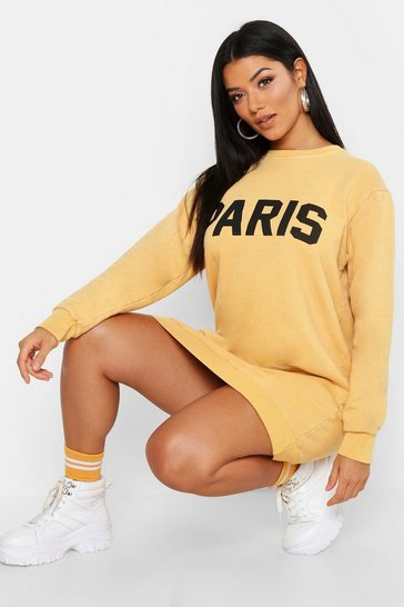Womens Mustard Paris Washed Oversized Sweatshirt Dress