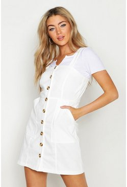Womens White Baby Cord Button Through Pinafore Dress
