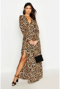 Womens Sand Button Front Tiger Print Thigh Split Maxi Dress