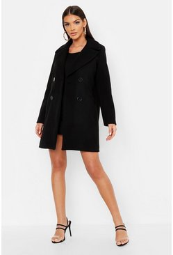 Womens Black Mock Horn Button Wool Look Coat
